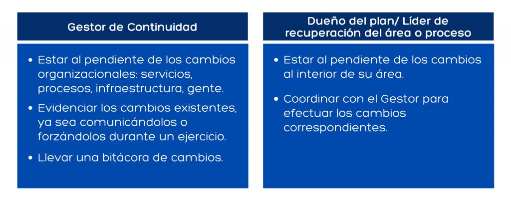 Responsabilidades del proceso de gestión de cambios del Programa de Continuidad del Negocio